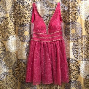 Hot Pink Homecoming Short Dress